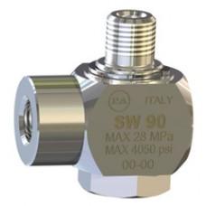 Поворотная муфта для консоли 28.3540.80, 90°, 280бар, 40 л/мин, 160 °C, вход-3/8внеш,  выход-3/8внут, нержавеющая сталь PA 26.1300.40