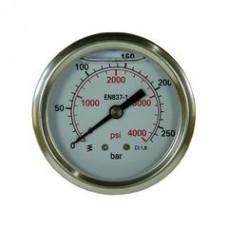 Манометр для АВД, 250bar, 1/4внеш, нерж.сталь R+M 54835